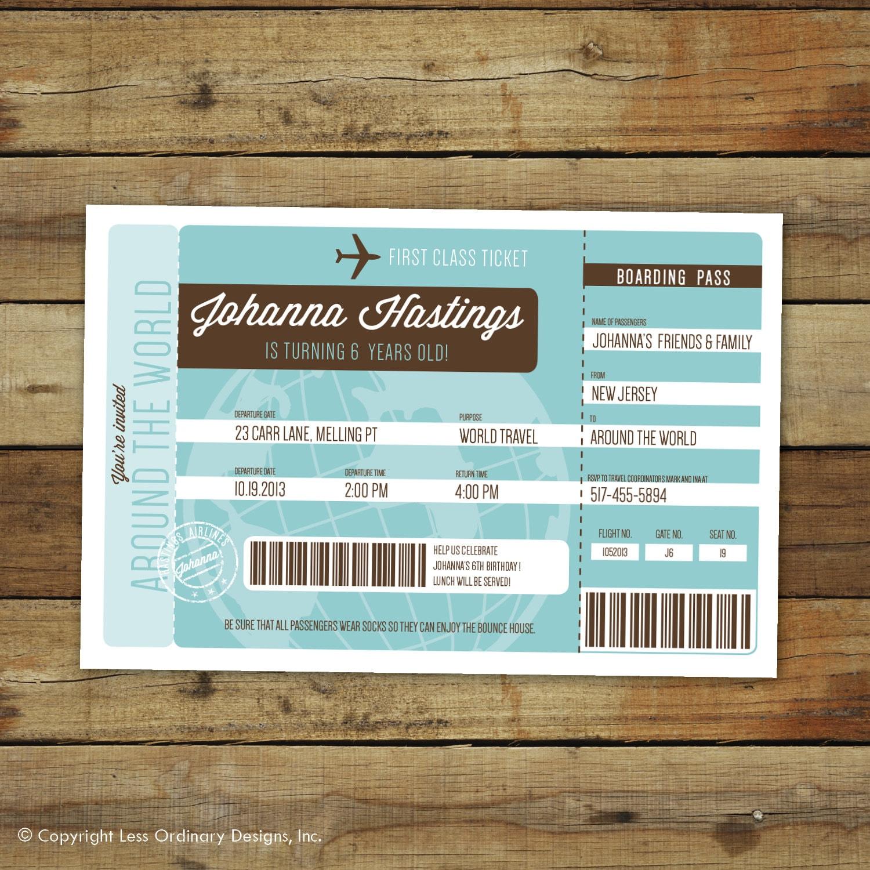 Airplane Ticket Birthday Party Invitation Around The World