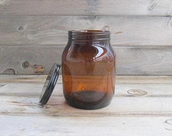 Vintage Amber Medicine Jar, Storage Jar, Large Supply Jar With Lid, Large Amber Glass Jar