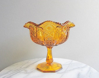 Vintage Amber Glass Bowl, Large Amber Goblet, Pedestal Bowl, Amber Footed Bowl