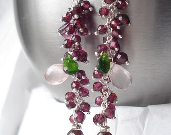 Garden of Roses earrings--rose quartz,garnet, diopside,pure silver,sterling silver