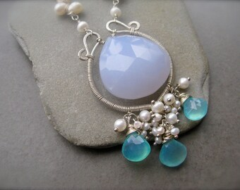 Blue Large Chalcedony Pendant  wire wrapped with pearls, Rare Chalcedony, sterling long pendant, focal briolette
