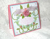 Rose Christian card, Religious, Pink, Blue and Green with John Newton quote, All Occasion, Blank Inside
