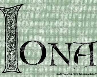 Digital Download Celtic Illumination Letter I, digi stamp, digis, St Patricks Day, Ornate digital collage sheet, Animal Inspired