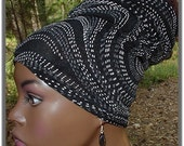 Headband-Tube-Dreadlocks-Black, White & Gray Glitter-Locs Natural Hair