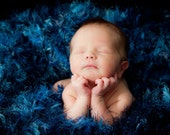 Blue Baby Blanket Photo Prop. Photography Prop Knit Newborn Photography Prop