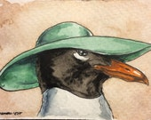 ACEO signed PRINT - Lady Seagull in a  Sun Hat