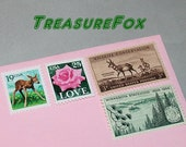 Deer LOVE .. Unused Vintage US Postage Stamps .. mail 5 letters