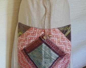 Handmade Skirt, Unique Clothing, Monogrammed L, Drawstring Skirt, Recycled Fabrics, Pretty Skirt, Wooden Beads, Decorative Front,Beige Skirt