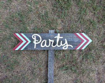 Chevron Party Sign Decorations Kids Party Sign, Party Signs, Directional Arrow Sign. Road Signs, Street Sign