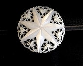 Carved Seven Star Brooch Mother of Pearl Victorian