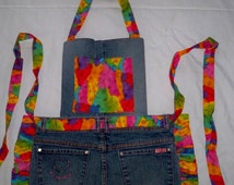 Recycled Jeans Apron w/Bib for Girls, Long ties, Bright Multi Color, Sz. 8 - 12