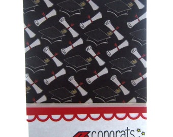 Stationery Set, Four Graduation Card Set, Congrats with Graduation Cap , Black and White with Red Border, for Male or Female Graduates