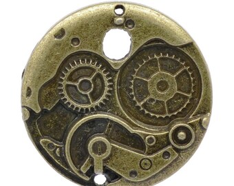 Steampunk Jewelry supplies Pocket Watch pendant gears dials  Charms   Pendant  clock charm   jewelry findings quantity one DRW67