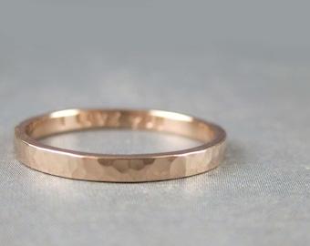 Personalized rose gold ring, solid 14k rose gold, Hammered rose gold ring, 2mm custom engraved rose gold band, pink gold ring, red gold ring