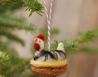 Chicken in a Walnut - Silver Laced Wyandotte - Needle Felted Christmas Ornament