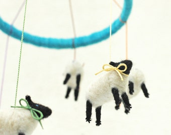 Made to Order - Small Cascading Rainbow Mini Suffolk Sheep Mobile - Needle Felted Nursery Decor