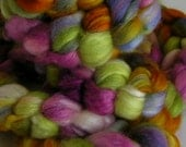 Fiber Roving Top BFL Silk My FLOWER GARDEN Top Hand Painted Wool Spin Felt Craft Roving 4 ounces