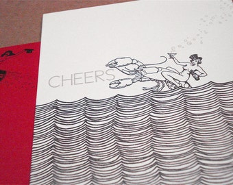 Lobster Cheers - letterpress greeting