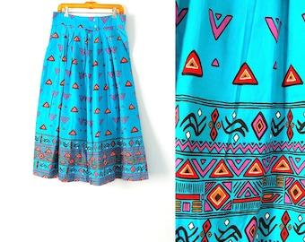 Vintage Teal Southwestern Cotton Skirt 32 inch waist