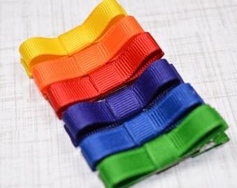 Rainbow Hair Clips Basic Tuxedo Clips Alligator Non Slip Barrettes for Babies Toddler Girl Set of 6