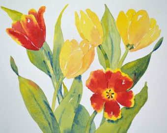 Watercolor Painting of Red and Yellow Tulips
