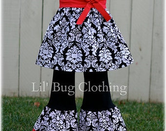 Custom Boutique Christmas Damask Jumper Top and Pant Set Girl Pageant Holiday  Outfit