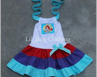 Little Mermaid Ariel  Custom Boutique Clothing Summer Tiered Halter Dress Girl Birthday