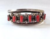 Coin Silver Coral Bracelet Navajo Antique Vintage Cuff