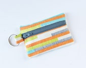 Zippered Pouch, Small Card Case, Ear Bud Case, Cascade Stripes in Orange