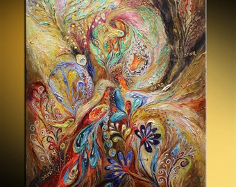 """Mixed Media & Collage Jewish art acrylic painting """"The Gold Dream"""". Exotic flowers Wall hanging interior design hand painted giclee print"""