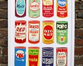 Retro Soda Cans - limited edition hand printed screen print