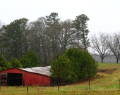 Old Barn Photography- GA Country Photos Red Barn Photgraphy Landscape Photos Red Green Rustic wall decor- 8x12 Fine Art Photograph