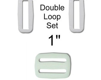 """Over Stock Sale - 100 Double Loop SETS - 1"""" - Regular Mouth Slide and Loop Set, Tri Bar - WHITE"""