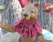 Circus Juggling Bear Handmade Clay Figurine Sculpture OOAK