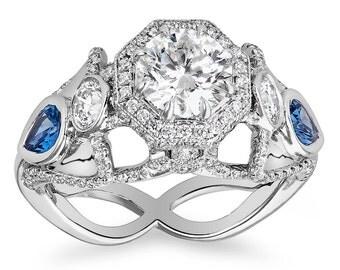 Freedom Ring Swallows and Diamonds Platinum 4+cts total Yogo Montana Blue Sapphires Pave Diamonds VS2 H VS1 E Pav