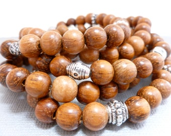Beaded Bracelet Set. Bayong Wood 5-Stack