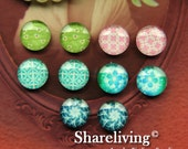 Time Limited Offer - 20% OFF - 10pcs 12mm Mixed Handmade Photo Glass Cabochon / Wooden Cabochon  -- MCH007H