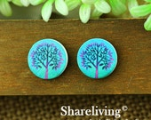 Buy 1 Get 1 Free - Tree Wood Cabochon, Wooden Button,12mm 15mm 20mm  Round Handmade Photo Wood Cut Cabochon -- HWC002T