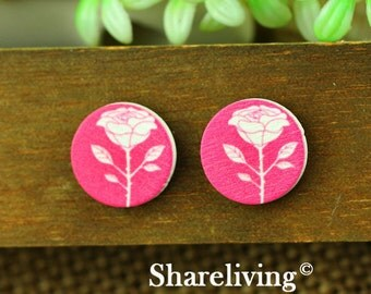 Buy 1 Get 1 Free - Flower Wood Cabochon, Wooden Button,12mm 15mm 20mm  Round Handmade Photo Wood Cut Cabochon -- HWC006J