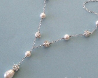 Bridal Pearl Necklace, Crystal Rhinestone Fireball & Pearl Bridal Necklace in White or Ivory, Y Necklace, Wedding Jewelry by JaniceMarie