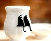 Black Cat Earrings.Halloween Earrings,Plexiglass Jewelry,Lasercut Acrylic