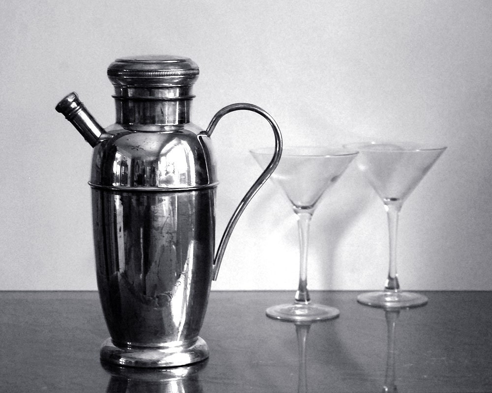 Antique Cocktail Shaker Epc Silver Plated Copper Bernard