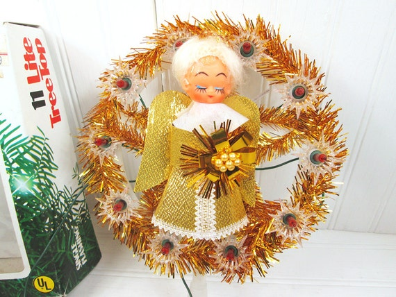 Vintage Angel Christmas Tree Topper Lighted Blinking Flashing