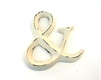 Shabby Cottage Chic White Polystone Ampersand Symbol