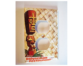 retro tiki outlet switch plate cover vintage 1950's rockabilly rocker switch cover tropical kitsch