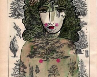 Forest Spirit-Art Print, Forest, Nature, Green,