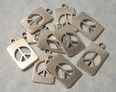 10 Cutout Peace Sign Charms 12mm x 19mm Peace Charms
