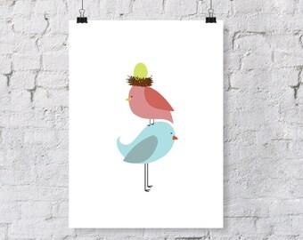 birdie parents stacked  - nursery art print