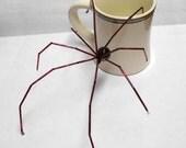 Red & Black Biggun Prism Spider: Poseable Bead Sculpture