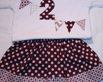 Girls 2nd Birthday shirt and matching skirt - Size 2 long sleeve white shirt with number 2 and pennants in plum purple and gray